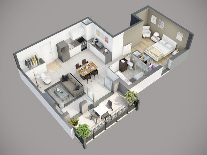 Plan de vente 3D Appartement T2 | Segny