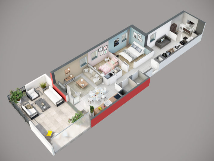 Plan de vente 3D Appartement T3 | Segny
