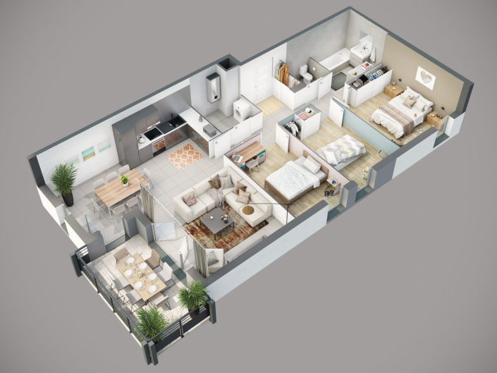 Plan de vente 3D Appartement T4 | Segny