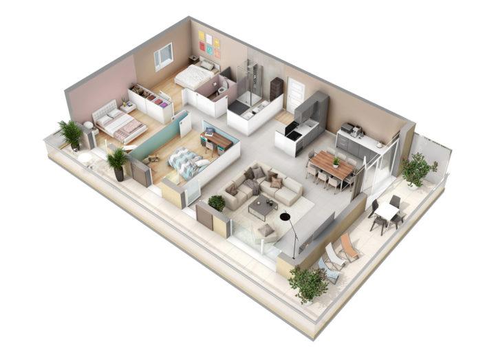 Plan de vente 3D Appartement T4 | Lyon