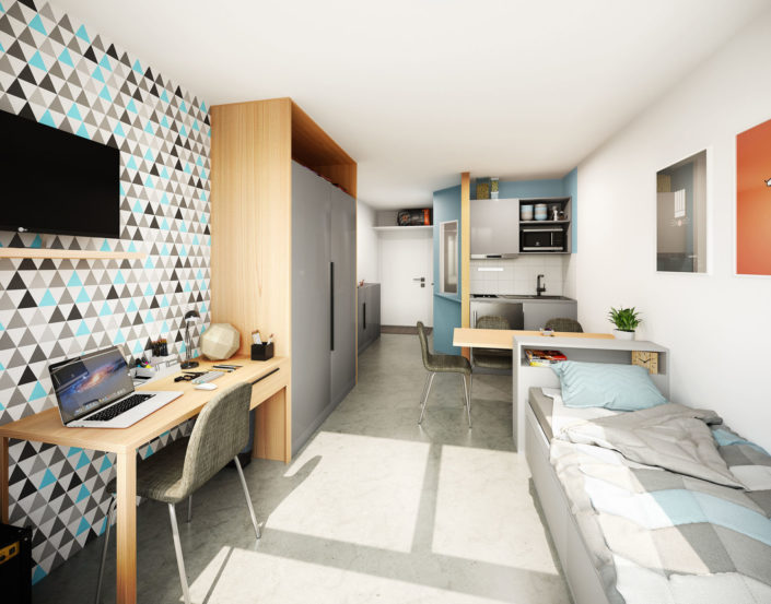 Chambre étudiante 3D | Lyon 9
