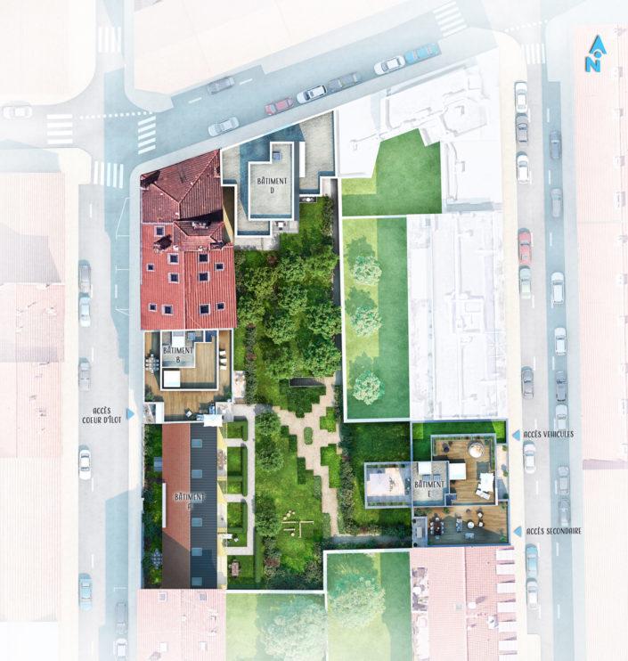 Plan masse 3D | Logements Lyon