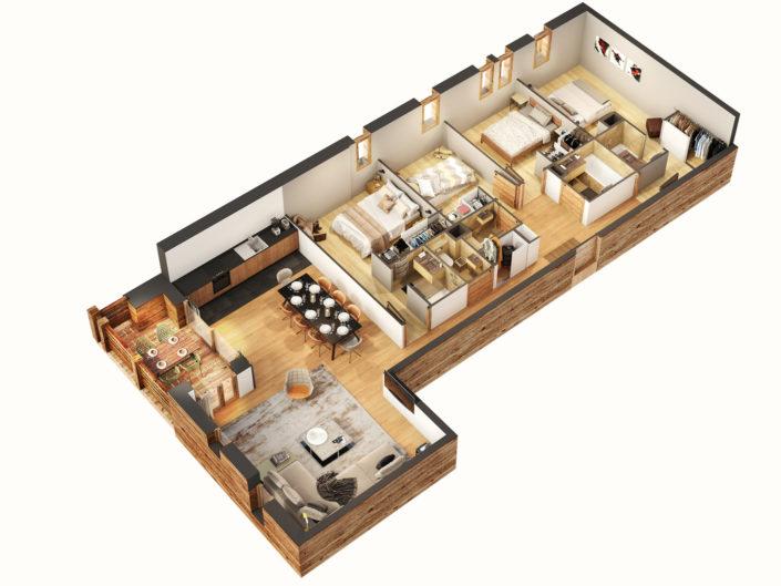 Plan 3D Chalet | Les Gets